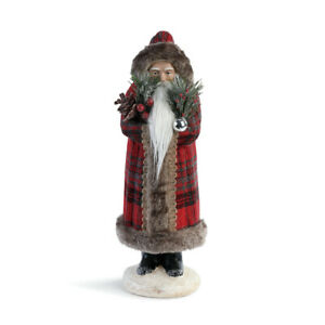 Santa Rosy Red Plaid 15 x 7 Polyester Fabric Holiday Collectible Figurine