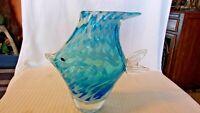 "Blue & White Blown Glass Angel Fish Shaped Flower Vase, 8.75"" Tall"
