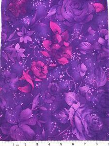 "Purple Flowers on Purple - Quilt Fabric - 14"" x 18"" Piece"