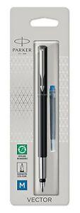 Parker Vector Fountain Pen Black with Chrome Trim Medium Nib Blue Ink Cartridge
