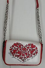 Brighton red white black heart chain long strap flap mini Purse wallet
