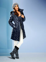 Tailored Fit Mid Length Quilted Jacket Style Coat with Removable Fur Lined Hood