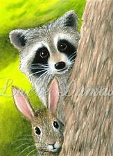 ACEO art print Hare 50 rabbit bunny Raccoon from original painting by L.Dumas