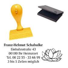 Adressenstempel « LOTUSBLÜTE » mit Kissen - Holzstempel Yoga Meditation Buddha