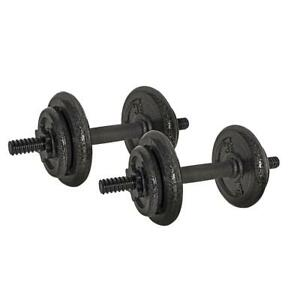 Adjustable Barbell Dumbbell Set Cast Iron Fully Adjustable 4 Spin Lock Collars