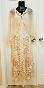 Martin McCrea Wedding Dress XS ivory lace macrame & shawl beach boho vintage WOW
