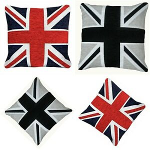 Black & Red Union Jack Chenille Cushion Covers or Filled Cushions British Flag