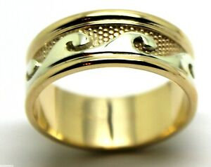 Size Q / 8, Solid Genuine 9ct 9kt Yellow And White Gold Mens Surf Wave Ring 258