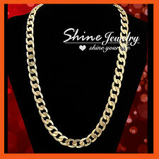 118K GOLD GF CURB RINGS LINKS HEAVY CHUNKY MENS WOMENS SOLID LONG CHAIN NECKLACE