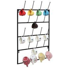 Mug Display Rack Wall Mounted Hook Holder Space Saving Storage Organizer Metal