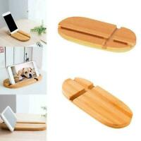 Bamboo Mobile Phone Desk Table mount Stand Holder For Phone Tablet J2D5 G9R3