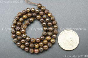 "Natural Bronzite Jasper Gemstone Round Beads 4mm 6mm 8mm 10mm 12mm 14mm 15.5"""