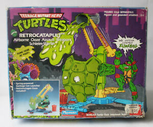 VINTAGE 1989 TMNT MUTANT NINJA TURTLES RETROCATAPULT BANDAI INCOMPLETE WITH BOX!