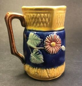 Antique Majolica Cobalt & Gold Pitcher Creamer from Stoke-on-Trent c.1880s