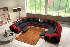 Ledersofa Polster Couch Wohnlandschaft Leder Textil Sofa XXL Ecksofa Mod:Berlin4