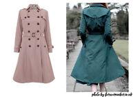 Collectif UK 50s Swing Marlene Pink Blush Long Shower Proof Trech Coat Jacket