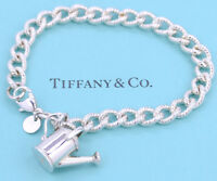 TIFFANY&Co Watering Can Charm Bracelet Silver 925 Bangle w/BOX v937