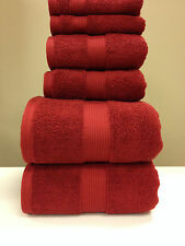 Cotton Plush Towel Set 6 PC Red Bath and Hand Towels Wash Cloth Set