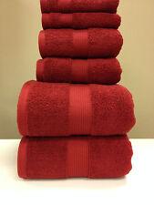 Cotton Plush Towel Set 6 PC Red Bath and Hand Towels Wash Cloth Set