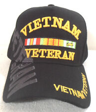 MILITARY CAP  VIETNAM VETERAN  BLACK HAT WITH SHADOW