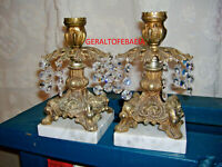 BRASS CANDLE HOLDERS, MARBLE BASE, MADE IN ITALY, RETRO VINTAGE