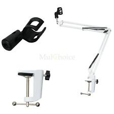 New Professional Mount Microphone Suspension Boom Scissor Arm Stand Holder White