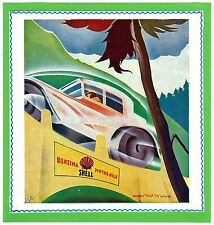 AUTOMOBILE ITALIAN MAG AD 1930 SHELL MOTOR OIL FUTURISM ARTIST-SIGNED