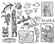 Unmounted Rubber Stamps Sheets, Alaska, Wildlife, Bear, Totems, Scenic Stamps