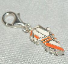 Encanto de Fútbol [ naranja / blanco ] 925 plata esterlina