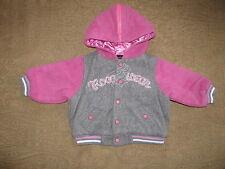 ROCAWEAR Hooded Wool Baseball Jacket Coat  Gray/Pink  6 Months  NWOT