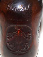 VINTAGE 2 OLD EARLIER 1900S GROLSCH PORCELIN STOPPER BROWN  BEER BOTTLES