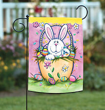 New Toland - Bunny in a Basket - Cute Easter Egg Rabbit Flower Garden Flag