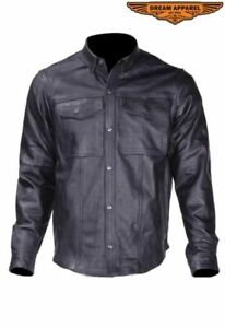 Men's Motorcycle Collared Leather Shirt w/Button Snap Closure & Multiple Pockets