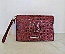 Brahmin Cranberry Melbourne Embossed Leather Envelope Sara Clutch Bag