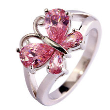 Butterfly Pink Topaz Gemstone Saucy Women Jewelry Silver Ring Size 5-13 Gifts