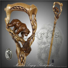 Walking Stick Cane Staff Wooden Carved Crafted Grizzly Bear Fishing Salmon Art