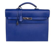 Hermes Kelly Depeche 38 Briefcase Electric Blue Palladium New
