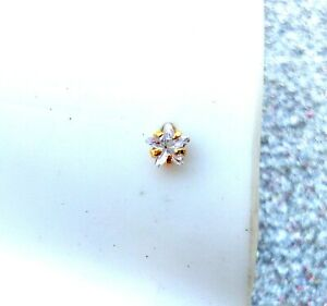 Indian GoldPlated Star Single Stone Nose Ring Traditional Beautiful Nose Ear Pin