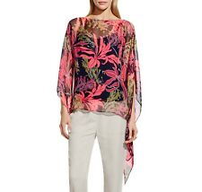 NEW Vince Camuto Women's Wildflower Blooms Poncho Blouse Black Multi XS $99.00