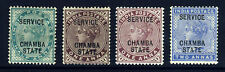 CHAMBA STATE INDIA QV 1887-98 OFFICIALS Overprinted SERVICE SG O1 to SG O5 MINT