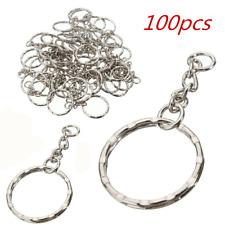 100pcs Silver Keyring Blanks chains Tone Key Key Split Rings 4 Link Chain Metal