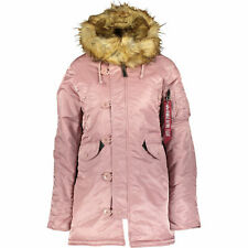 ALPHA INDUSTRIES Women's Hooded Padded Warm Coat Jacket Silver Pink, M RRP £245
