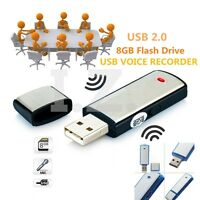 8GB DIGITAL VOICE AUDIO RECORDER DICTAPHONE USB MEMORY STICK ALLOY