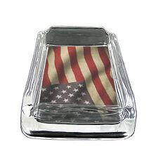 "American Flag D11 Glass Square Ashtray 4"" x 3"" Smoking Cigarette"