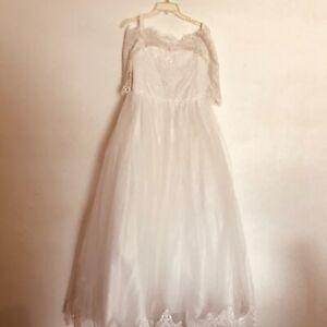 Floor length 3/4 sleeve off shoulder  ivory wedding princess size 16 junior. NWT