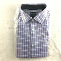 Society of Threads Men's Slim Fit Dress Shirt, Lilac Check, Size M 15-15.5 33/34