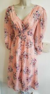 New Stunning Floral Size XL 14 Button Through Midi Dress Reyon @ ASOS Tea Vtg