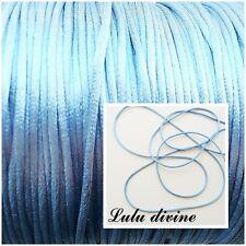 Cordon / Fil polyester 2 mm, Attache tétine, Shamballa, couleur : Bleu (3 m)