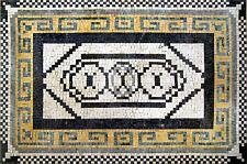 "40""x 28"" Geometrical Rug Handmade Floor Pattern Home Entrance Marble Mosaic Art"