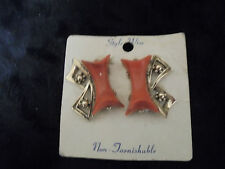 "Vintage Costume Jewlery Earrings ""CLIP ON"" Coral Color on Silver Tone 1"" Long"